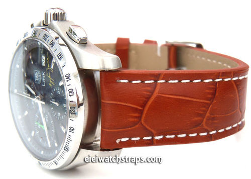 Brown Alligator Grain Padded Leather Watch Strap For TAG Heuer Link Watches