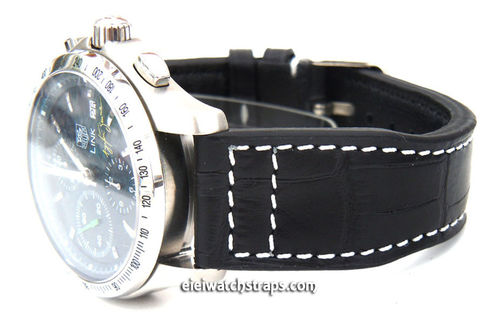 Aviator 22mm Black Alligator watch strap on Deployment Clasp For TAG Heuer Link Watches