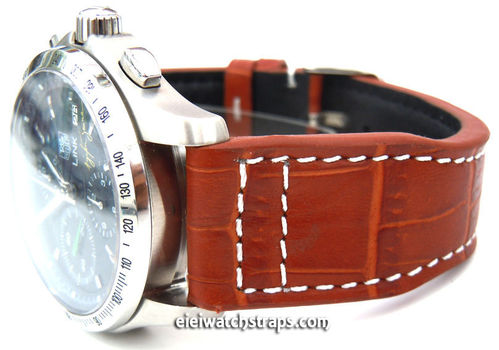 Aviator 22mm Brown Alligator watch strap on Deployment Clasp For TAG Heuer Link Watches