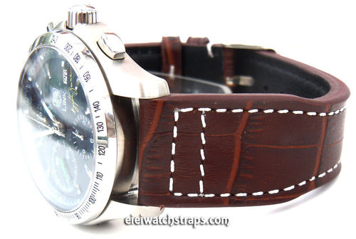 Aviator 22mm Dark Brown Alligator watch strap on Deployment Clasp For TAG Heuer Link Watches