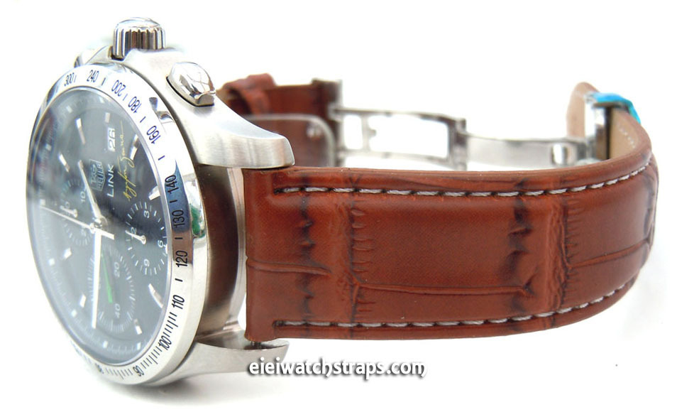 dd41b302b ... Brown Crocodile Watch Strap White Stitched Butterfly Deployant Clasp  For TAG Heuer Link Watches ...