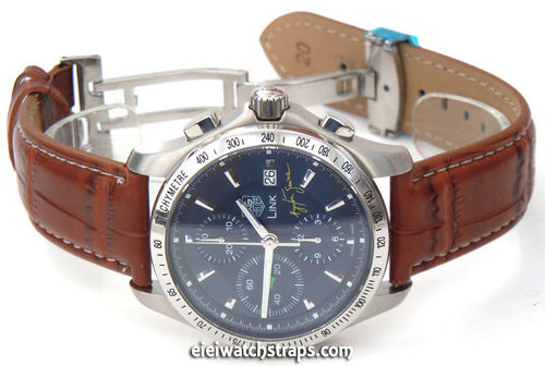 Brown Crocodile Watch Strap White Stitched Butterfly Deployant Clasp For TAG Heuer Link Watches