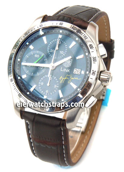 d9fc6be86 ... Dark Brown Crocodile Watch Strap White Stitched Butterfly Deployant  Clasp For TAG Heuer Link Watches ...