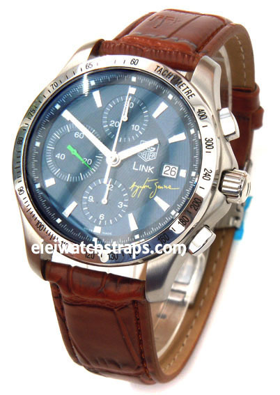84836d5c4 ... Brown Crocodile Watch Strap Butterfly Deployant Clasp TAG Heuer Link  Watches ...