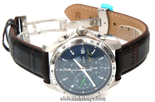 Dark Brown Crocodile Watch Strap Butterfly Deployant Clasp TAG Heuer Link Watches