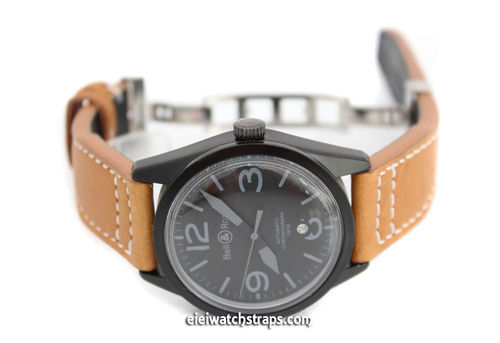 Aviator Hand Made Tan 22mm Calf Leather watchstrap For Bell & Ross