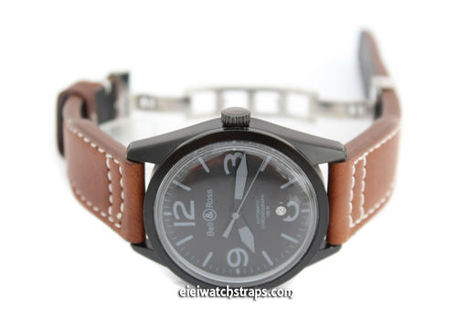 Aviator Hand Made Brown 22mm Calf Leather watchstrap For Bell & Ross