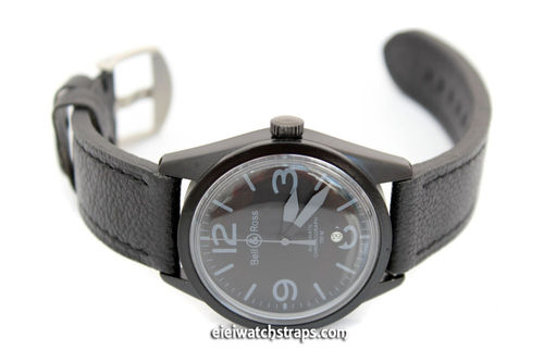 Double Thickness Cut Edge Black Leather Watch Strap For Bell & Ross Watches