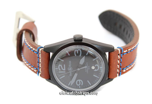 22mm Black Leather watch strap Double Stitched For Bell & Ross Watches