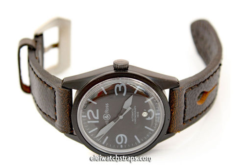 22mm Gray Leather watchstrap For Bell & Ross Watches