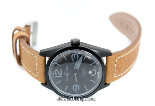 Double Thickness Cut Edge Saddle Brown Leather Watch strap For Bell & Ross Watches