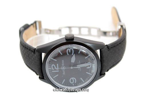 22mm Black Carbon Fiber Grain Padded Italian Calfskin Leather Watchstrap For Bell & Ross