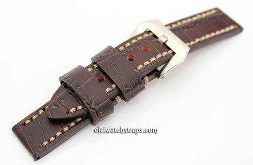 Handmade Brown Alligator Watch Strap White Stitched