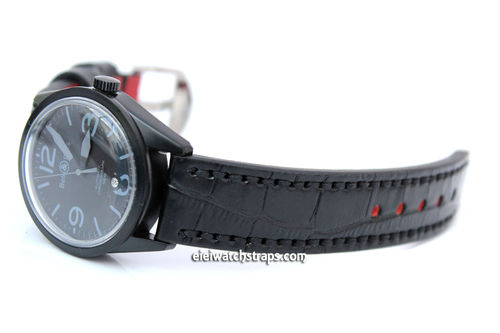 Handmade Black Alligator Watch Strap For Bell & Ross Watches