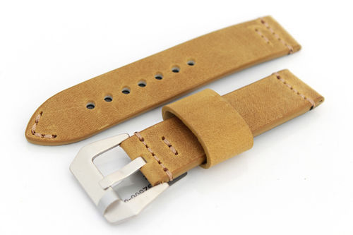 22mm Handmade Aged Tan Genuine Leather watch strap