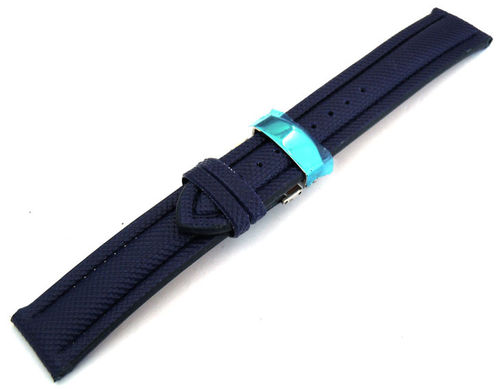 22mm Navy Blue Polyurethane Waterproof watch strap with Deployment Clasp