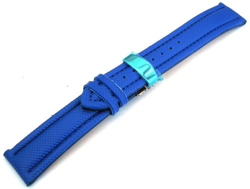 22mm Blue Polyurethane Waterproof watch strap with Deployment Clasp