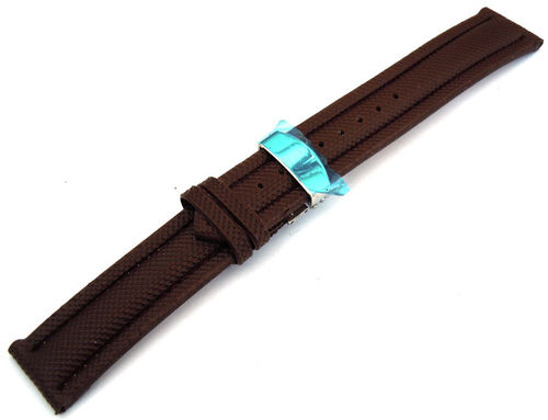22mm Brown Polyurethane Waterproof watch strap with Deployment Clasp
