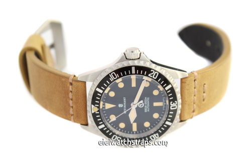 22mm Handmade Aged Tan Genuine Leather watch strap For Steinhart Ocean Vintage Military