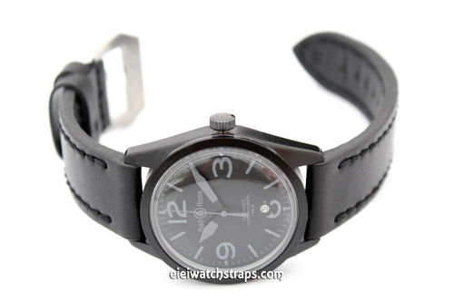 Double Thickness Matt Black 22mm Leather Watch Strap for Bell & Ross