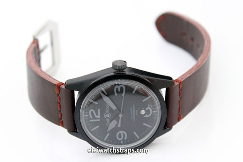 Metta Oiled Brown Leather Watch Strap for Bell & Ross