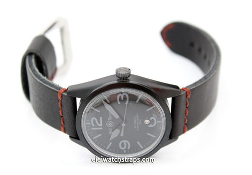 Metta Oiled Black Leather Watch Strap for Bell & Ross