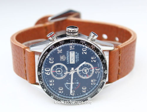 Metta Oiled Tan leather watch strap For TAG Heuer Carrera