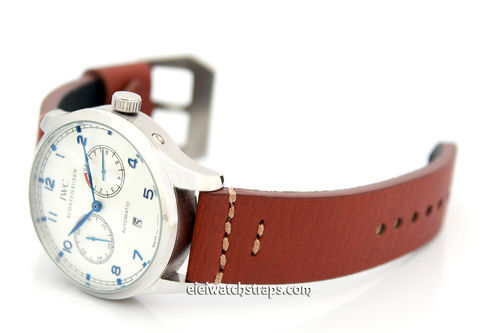 22mm Handmade Aged Brown Genuine Leather watch strap For IWC Portuguese