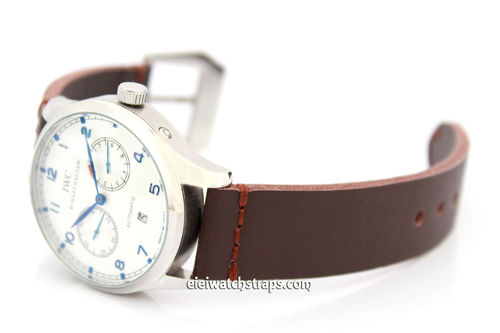 Metta Oiled Brown leather watch strap For IWC Portuguese