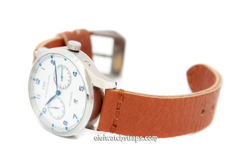 Metta Oiled Tan leather watch strap For IWC Portuguese
