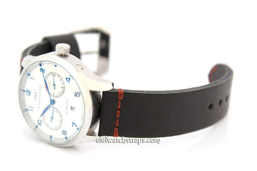 Metta Oiled Black leather watch strap For IWC Portuguese
