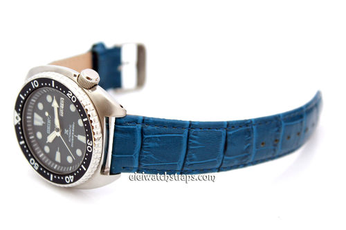 Classic Blue Crocodile Grain Leather Watch Strap For Seiko Turtle