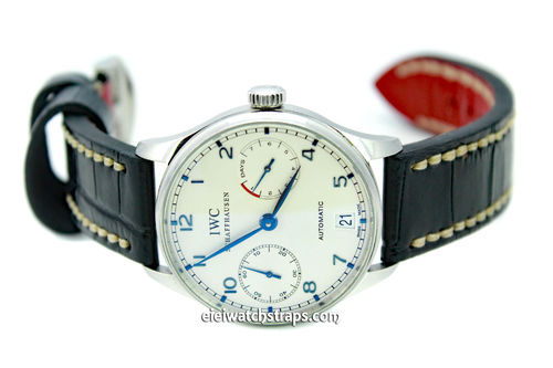 Handmade Alligator Watch Strap White Stitched For IWC Portuguese
