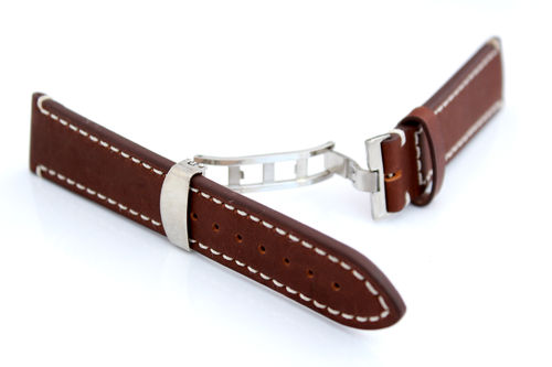 LIBERTY Hand Made Leather Watch Strap in BROWN on Deployment Clasp