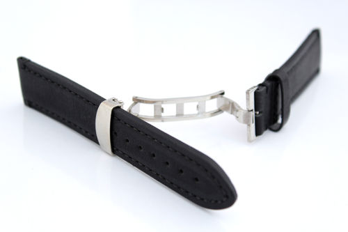 LIBERTY Hand Made Leather Watch Strap in Black on Deployment Clasp