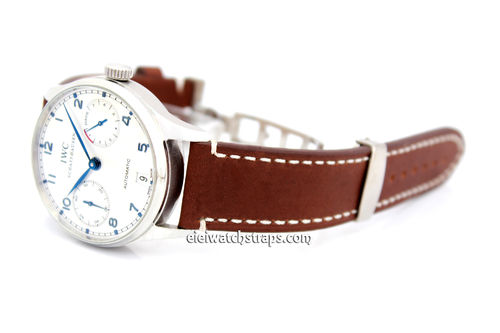 LIBERTY Hand Made BROWN Leather Watch Strap on Deployment Clasp For IWC Portuguese