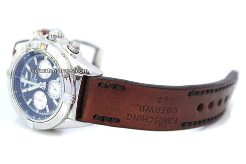 Brooklands Hand Made Vintage style Ammo Leather watch strap For BREITLING Chronomat