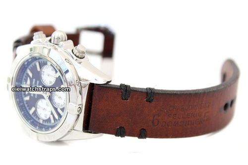 Dom Hand Made Vintage style Ammo Leather watch strap For BREITLING Chronomat
