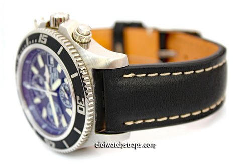 Genuine Brand New Breitling Black Calf Leather Strap with Tang Buckle