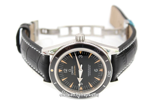 Alligator Grain Padded Black Leather Watchstrap on Deployment Clasp For Omega Seamaster