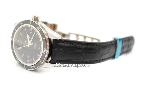 Padded Black Crocodile Grain Leather Watch Strap on Deployment Clasp For Omega SeaMaster