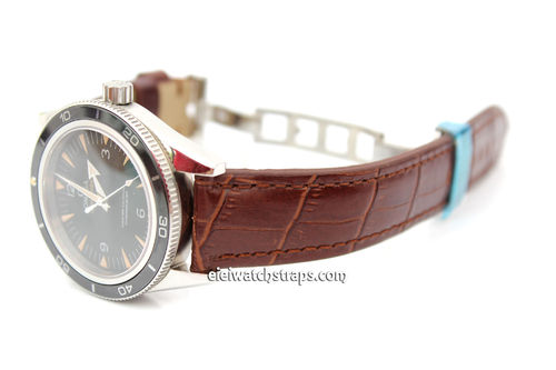 Padded Dark Brown Crocodile Grain Leather Watch Strap on Deployment Clasp For Omega SeaMaster