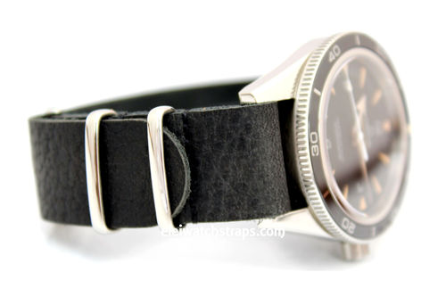 NATO Genuine Black Leather Watch strap For Omega Seamaster