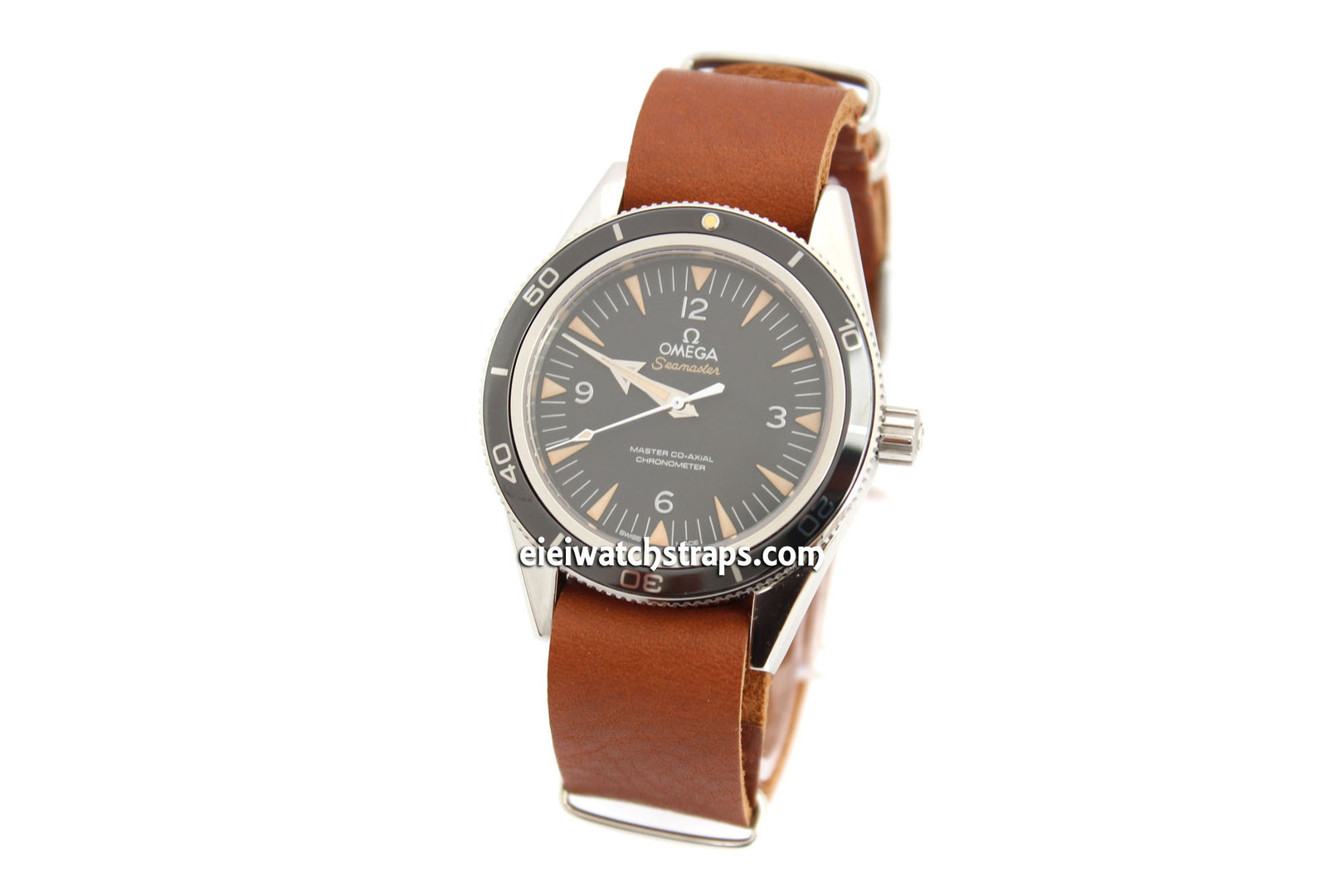 Nato Genuine Brown Leather Watch Strap For Omega Seamaster