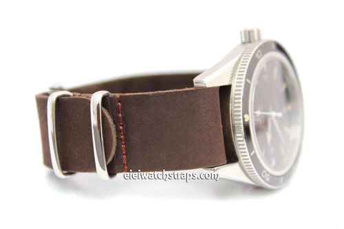 NATO Genuine Coffee Leather Watch strap For Omega Seamaster