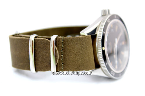 NATO Genuine Green Leather Watch strap For Omega Seamaster