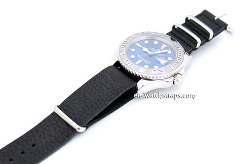 NATO Genuine Black Leather Watch strap For Rolex Watches