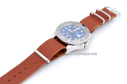 NATO Genuine Brown Leather Watch strap For Rolex Watches