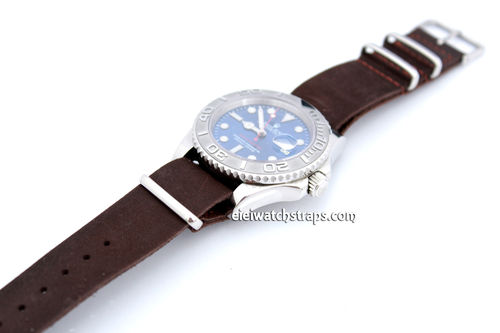 NATO Genuine Coffee Brown Leather Watch strap For Rolex Watches