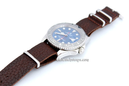 NATO Genuine Dark Brown Leather Watch strap For Rolex Watches
